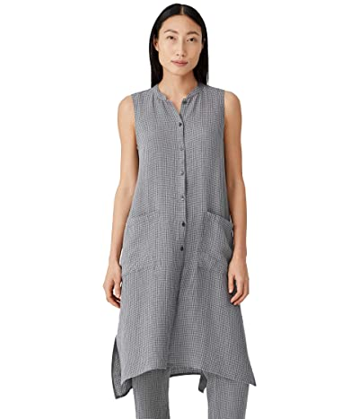 Eileen Fisher Petite Mandarin Collar Long Shirt in Puckered Organic Linen