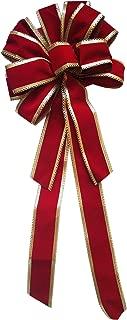 Winter Wonder Lane Large Decorative Christmas Seasonal Decorative Bow (Red Gold Velvet)