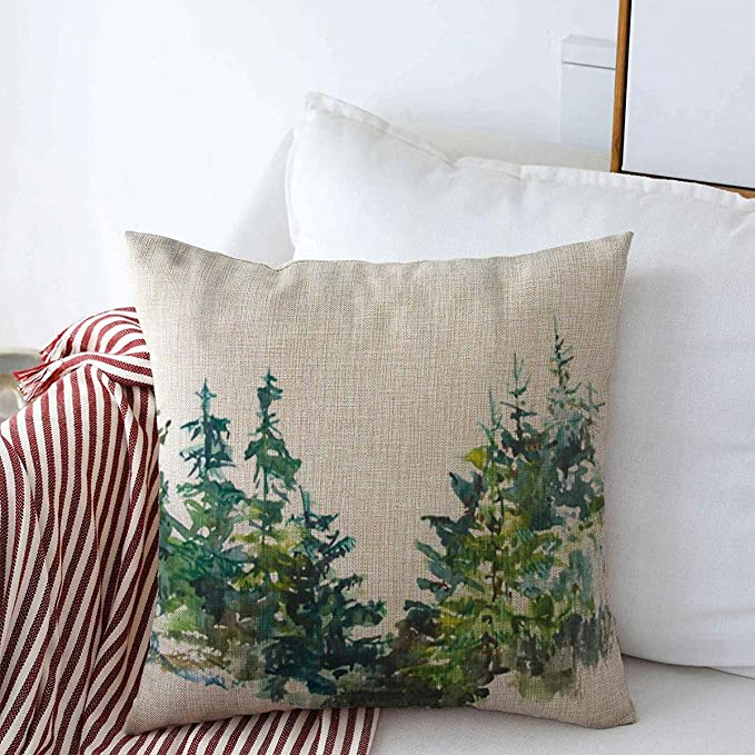 Starosac Throw Pillow Case Forest Blue Mountain Watercolor Pine Trees Parks Green Branch Closeup December Tree Home Decor Square Pillows Covers 18 X18 For Farmhouse Decorative Home Kitchen