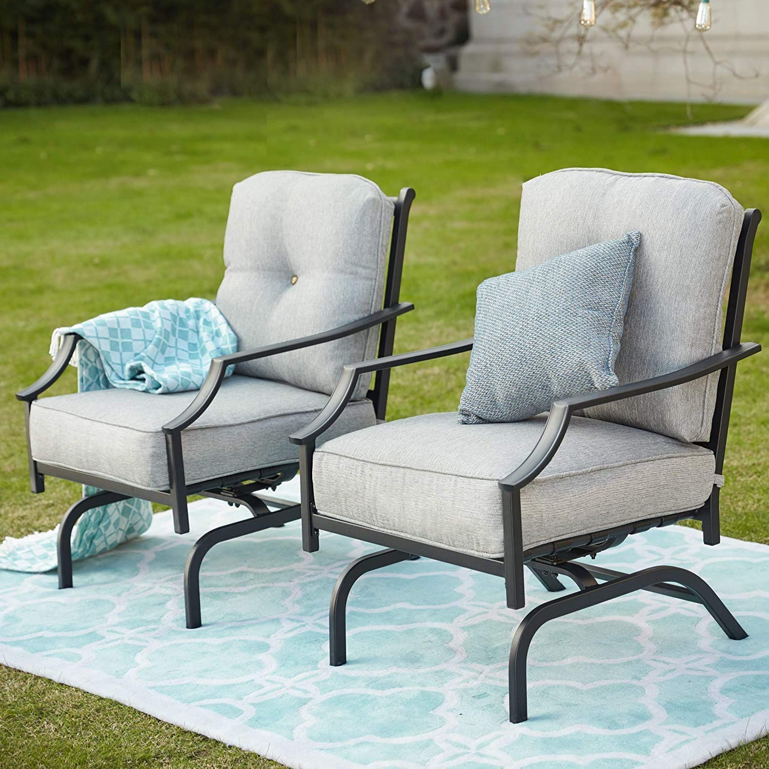 Top store Ranking TOP16 Space Rocking Patio Chairs Outdoor Motion Furniture Sp Metal