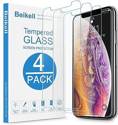Beikell [4 Stück Schutzfolie für iPhone XS/X, HD Displayschutzfolie mit 9H Härte, Anti-Kratzen, Anti-Bläschen, Hüllefreundllich kompatibel mit iPhone XS/iPhone X