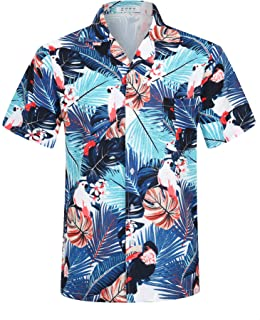 iCKER Hawaiian Shirt Beach Shirt Mens Short Sleeve Shirt Floral Classic Shirt Print Casual Regular Fit
