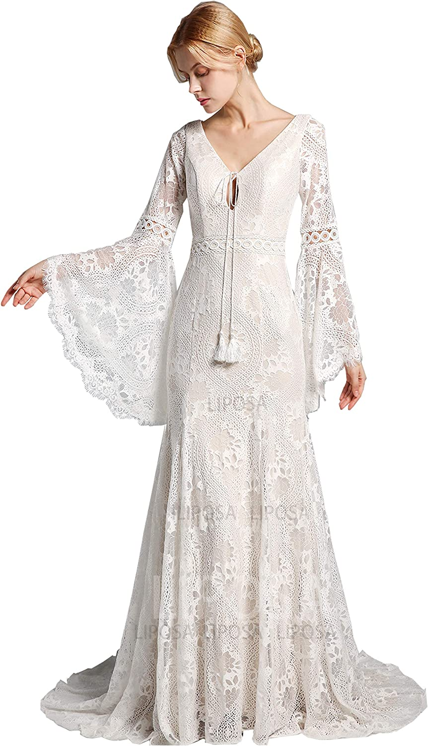 LIPOSA Boho Lace Wedding Dresses for Brides Long Bell Sleeves V Neck Mermaid Bridal Gowns with Sweep Train