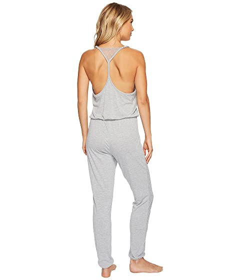 Splendid Always Long Lace Back Pajama Romper Light Heather Gray Buy Cheap Countdown Package JWqnIa