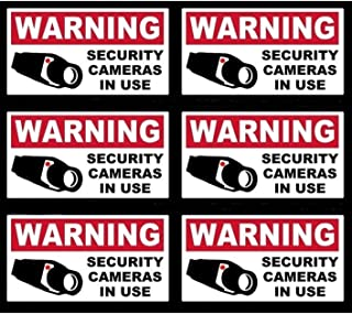6 Pcs Lavish Unique Warning Security Cameras in Use Video Surveillance Sticker Yard Sign Bumper Adhesive Business House Neighbor Under Protect Decor Home Trespassing Burglar Printed Post Size 4