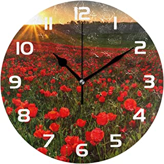 Dozili Poppy Flower Field Decorative Wooden Round Wall Clock Arabic Numerals Design Non Ticking Wall Clock Large for Bedrooms, Living Room, Bathroom