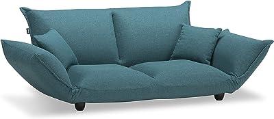 【フランスベッド正規品】 ソファーベッド ブルー 2人掛け 「ピッツPizz」 クッション2個・ビッグスツール1個・レッグ2種類付き 日本製 50701240