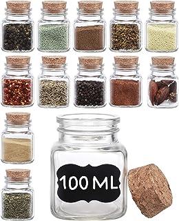12 Pots à Épices en Verre Carrées - 100ml - Bocaux d'Epices avec Etiquettes et Marqueur - Lavable au Lave-vaisselle