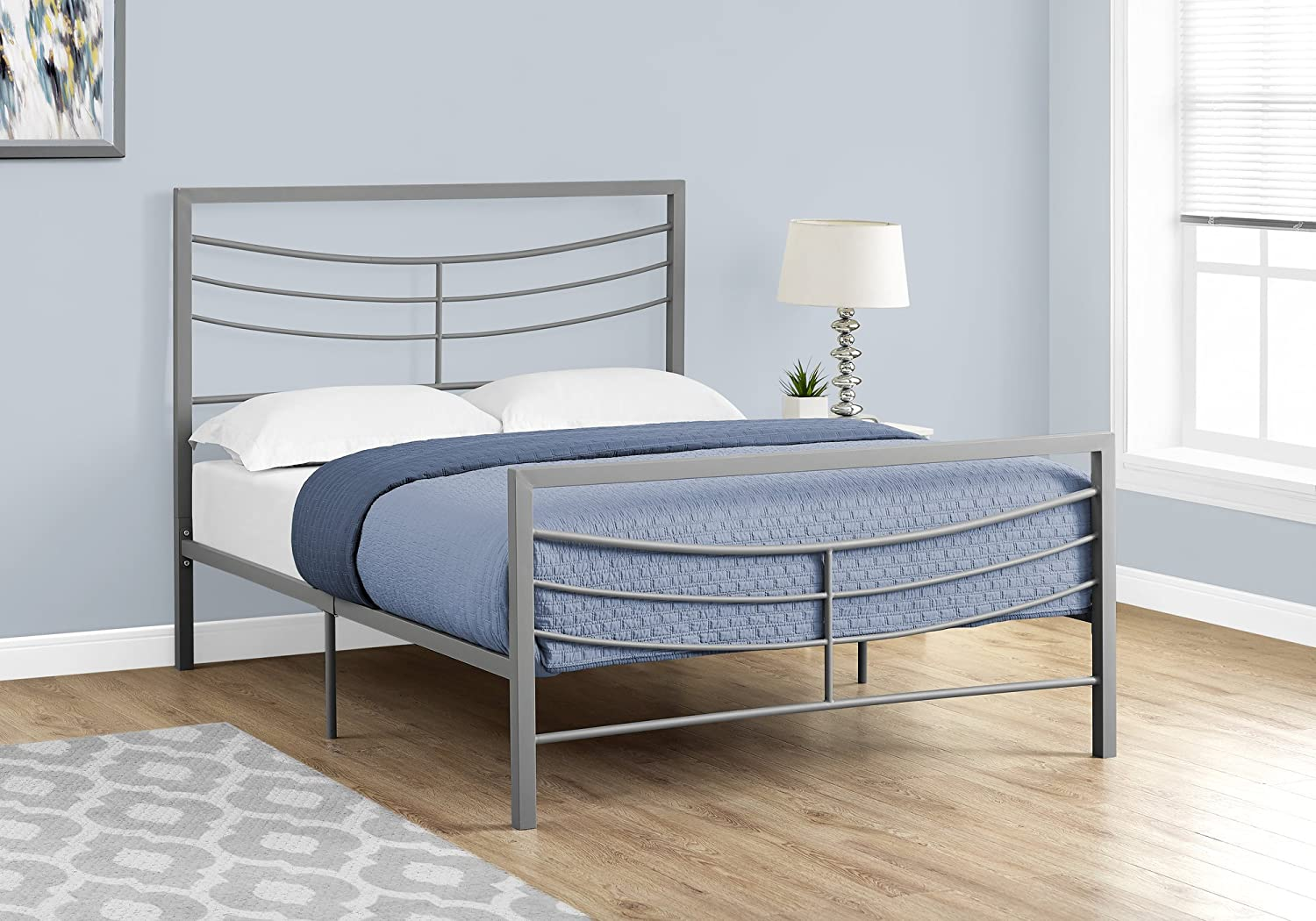 Monarch Specialties Bed - Full Size Silver Metal Frame only