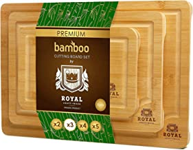Organic Bamboo Cutting Board with Juice Groove (3-Piece Set) - Kitchen Chopping Board for Meat (Butcher Block) Cheese and ...