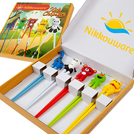 Kids Training Chopsticks - 5 Pairs Chopsticks Set with attachable Training Chopsticks Helper - Eco Friendly, Reusable & Dishwasher Safe - Suitable for Children and Adults alike