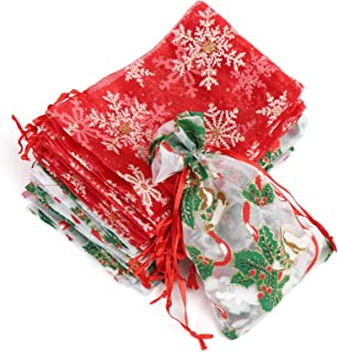 Naler Christmas Organza Jewelry Candy Drawstring Gift Bags New Year Holiday Design, 20 Packs