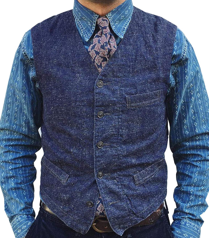 Men's Denim Vest V-Neck Sleeveless Waistcoat Casual Buttons Slim Fit Suit Vests