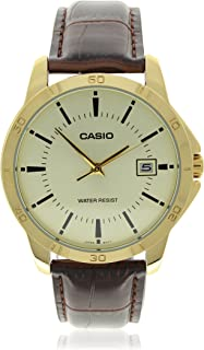 Casio Men's Silver Dial Leather Analog Watch MTP-V004GL-9AUDF