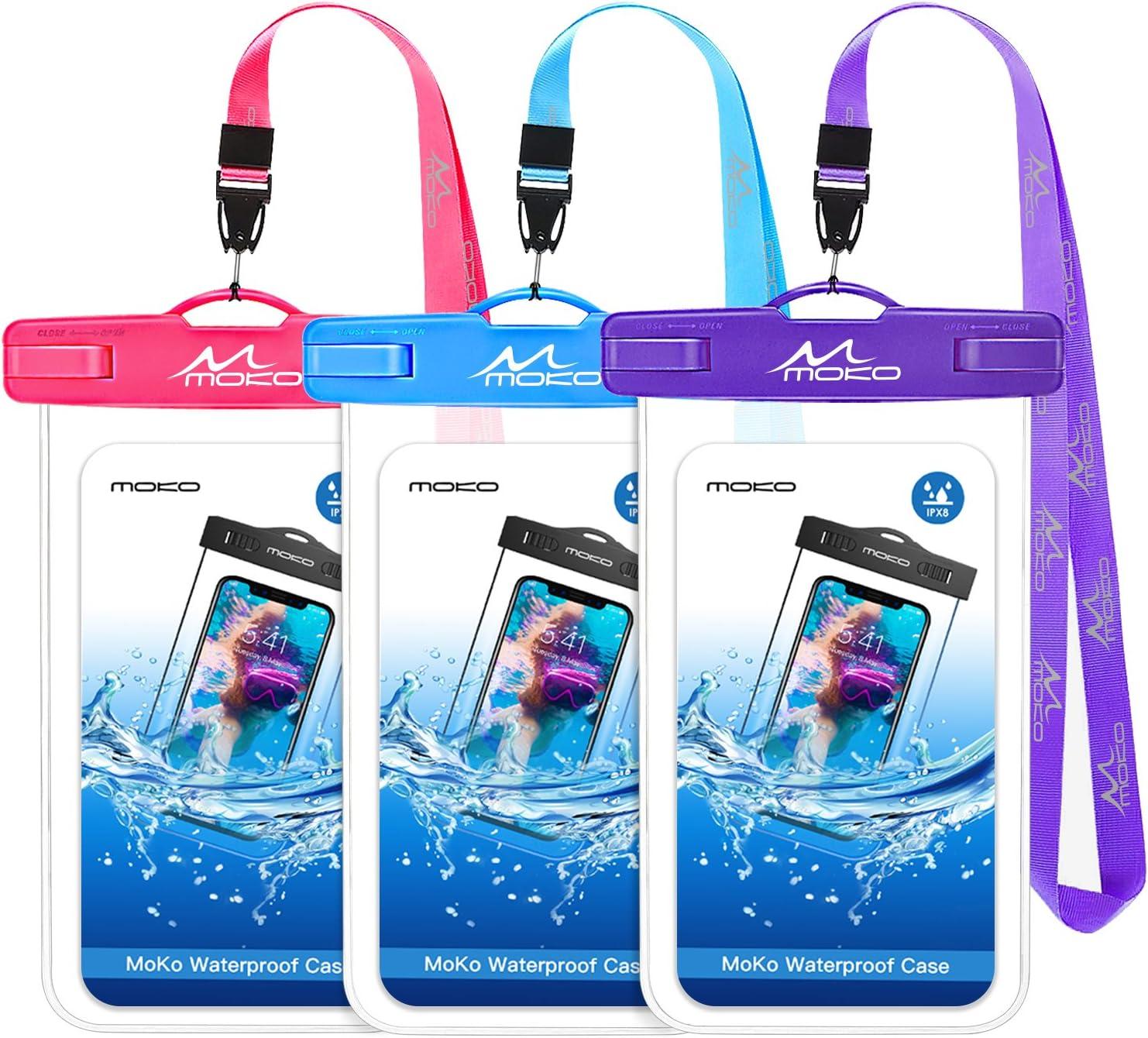 MoKo Bolsa Impermeable para Teléfono,[3PZS] Estancas Flotante Funda Universal con Correa para iPhone 12,12 Mini,12 Pro,11,11 Pro,11 Pro MAX,Pixel 4 XL,Samsung S9/Note 9/S21 - Morado + Magenta + Azul