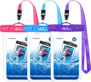 MoKo Waterproof Phone Pouch [3 Pack], Underwater Clear Phone Case Dry Bag with Lanyard Compatible with iPhone 11/11 Pro Max, X/Xs/Xr/Xs Max, 8/7/6 Plus, Samsung S10/S9/S8 Plus, S10e, A10E, Note 10/9/8