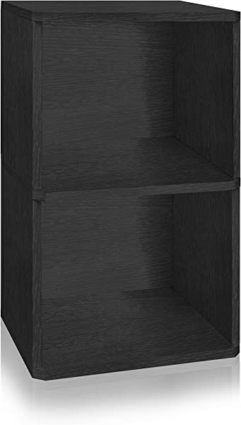 Way Basics 2 Shelf Vinyl Record Storage Cube And LP Record Album Storage Shelf Black