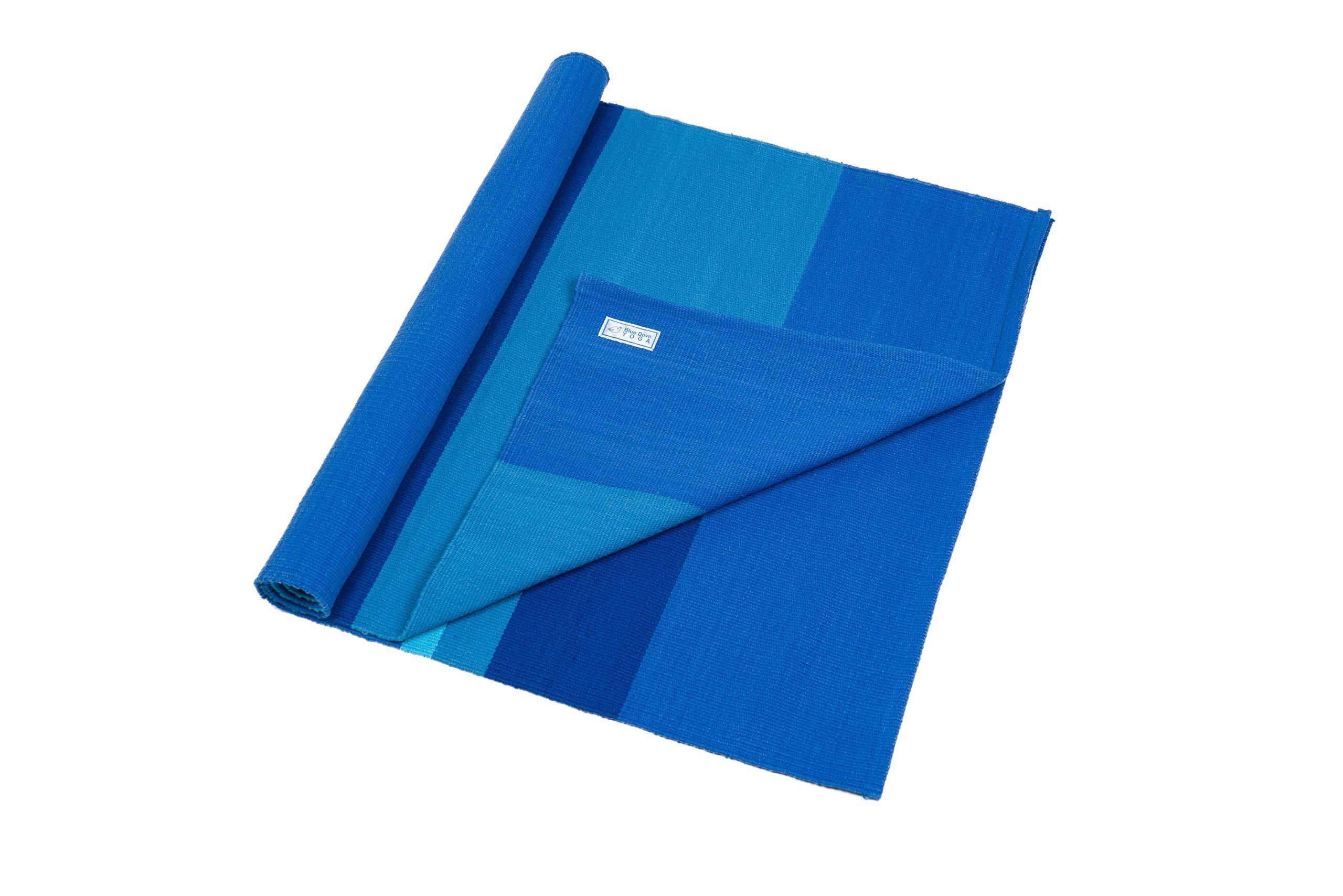 Blue Dove Yoga Mysore Esterilla de Yoga de algodón orgánico Tejida a Mano, Unisex Adulto, Aqua Stripe, 180 x 70 cm: Amazon.es: Deportes y aire libre