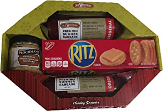 Old Wisconsin Holiday Sampler - Includes 2 Premium Summer Sausage - 1 3.4 Oz of Ritz Crackers and One Small Tub of Plochman's Original Stone Ground Mustard