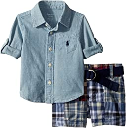 Shirt, Belt & Madras Shorts Set (Infant)