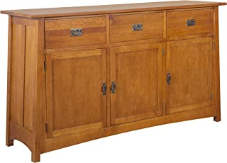 Mission Quarter Sawn Oak 3-Door & 3-Drawer Sideboard, Michael's Cherry