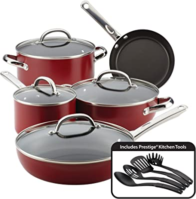 Farberware Buena Cocina Nonstick Cookware Pots and Pans Set, 13 Piece, Red