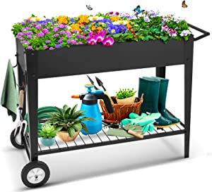 Raised Garden Bed with Legs Outdoor Raised Planter Box on Wheels Elevated Garden Bed for Vegetable Flower Herb Patio
