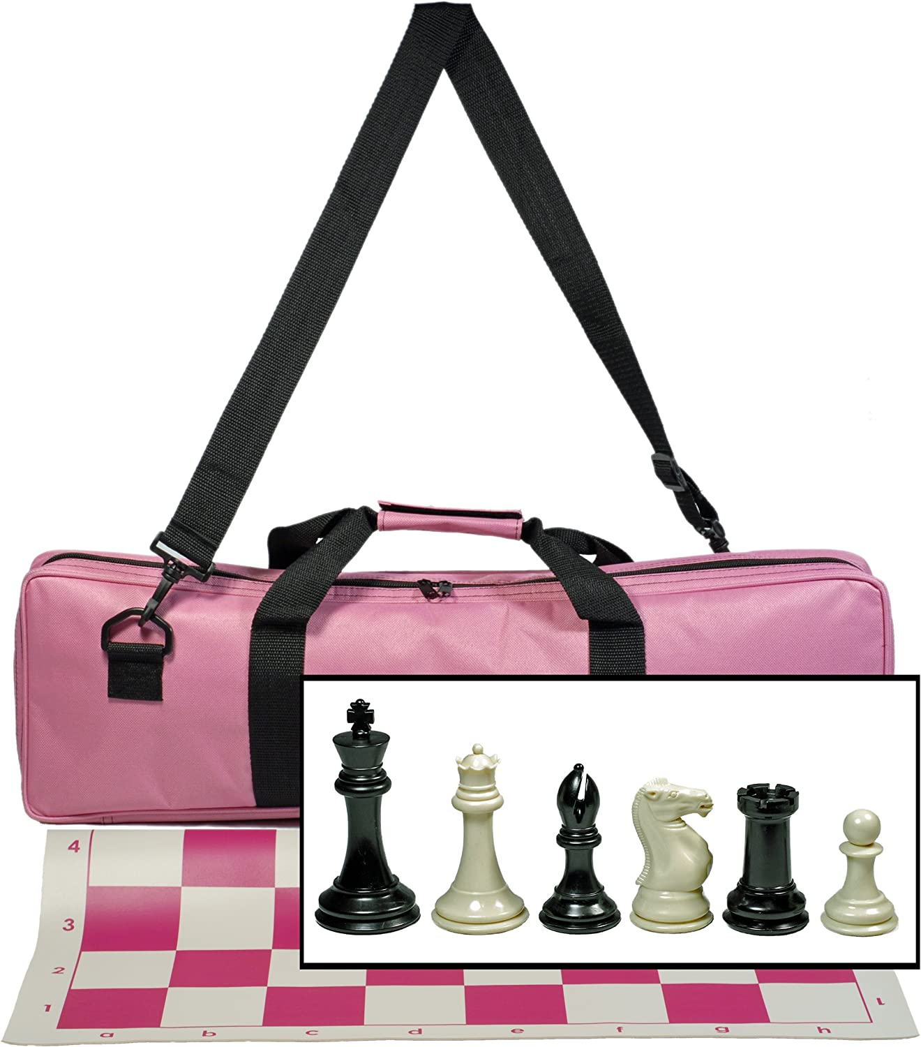 WE Games Premium Tournament Chess Set with Deluxe Pink Canvas Bag, Super Weighted Staunton Chess Pieces - 4 Inch King by WE Games