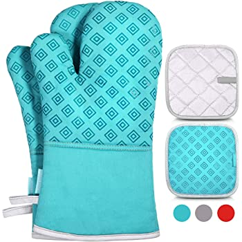 Homemaxs Oven Mitts and Pot Holders 4pcs Set, 500℉ Heat Resistant Non-Slip Food Grade Kitchen Mitten Silicone Cooking Gloves s for Kitchen, Cooking, Baking, BBQ (Turquoise)