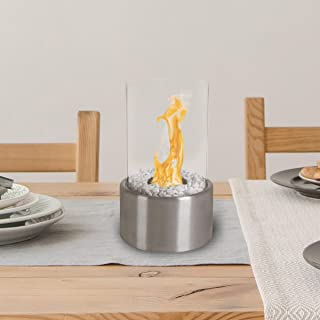 Northwest Bio Ethanol Ventless Fireplace-Tabletop Cylinder Real Flame Smokeless Clean Burning Indoor Outdoor Portable Heat-360 View Modern Décor