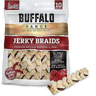 Buffalo Range Rawhide Dog Treats | Healthy, Grass-Fed Buffalo Jerky Raw Hide Chews | Hickory Smoked Flavor