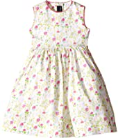 Oscar de la Renta Childrenswear - Watercolor Floral Cotton Party Dress (Toddler/Little Kids/Big Kids)