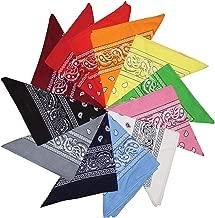 Kurtzy Pack 12 Bandanas Bufandas Variadas Estampado Gota Bandanas de Algodón para la Cabeza, Bufandas, Mascotas, Cabello y Accesorios para Bolsos, Disfraces y Más - Hombres, Mujeres y Niños