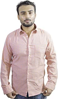 Spanish One Look Mens Casual Long Sleeve 100% Cotton Regular Fit Button Down Casual Shirts Dress in Pink Printed Check Shirt for Men