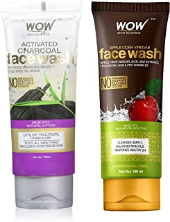 WOW Skin Science Apple Cider Vinegar Face Wash - No Parabens, Sulphate, Silicones & Color (100mL) & WOW Activated Charcoal...