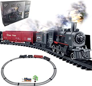Haktoys Railway King Classical Freight Train Set Battery Operated Ready to Play Simulation Steam Locomotive Playset with S...