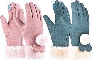 Sponsored Ad - Kids Winter Warm Fleece Gloves - 2 Pairs Girls Touchscreen Gloves Full Finger Windproof Gloves for 6-12 Yea...