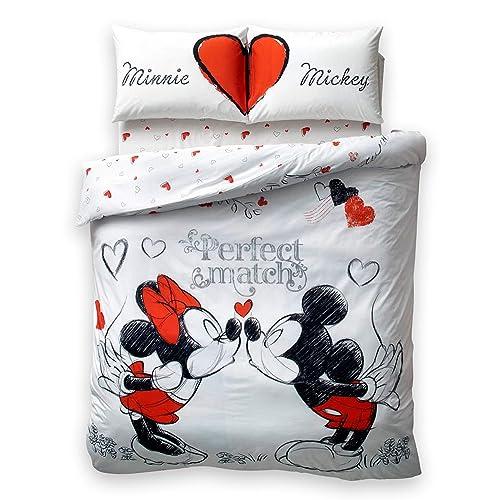 Disney Minnie Mickey Perfect Match Amore 100% Cotone Parure Copripiumino, Dimensioni Matrimoniale, 4 pezzi