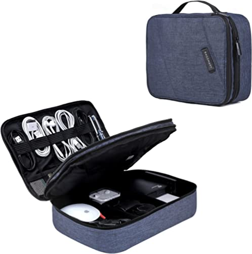 Electronic Organizer BAGSMART Travel Cable Organizer Bag for Hard Drives, Cables, Charger, Phone, USB, SD Card (blue-...