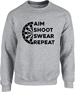 Hippowarehouse Aim Shoot Swear Repeat Darts Unisex Jumper Sweatshirt Pullover (Specific Size Guide in Description)
