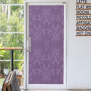 Eggplant Pattern Blackout Window Film,Gorgeous Well Formed Flowers on Purple Background Damask Floral Arrangement Ornament Ba