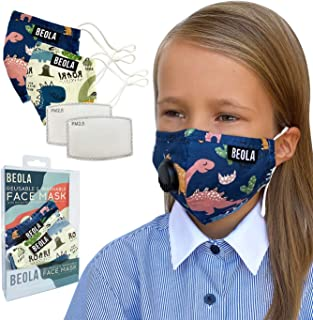 BEOLA Washable Face Kids Mask Non Medical Reusable Cotton With Valve Filter For Children Bella Adult Woman Man Fashion (Cl...