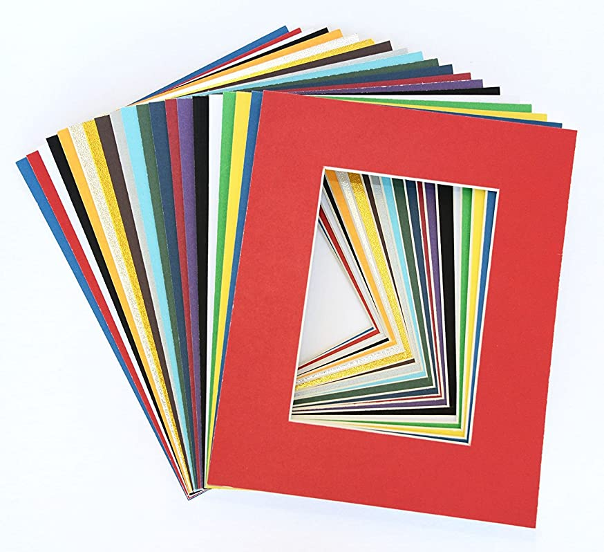 Pack of 25 sets 11x14 MIXED COLORS Picture Mats Mattes Matting for 8x10 Photo + Backing + Bags
