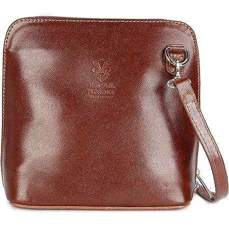 Belli italienische Ledertasche Damen Umhängetasche Handtasche Schultertasche - 17x16,5x8,5 cm (B x H x T) (Maronenbraun)