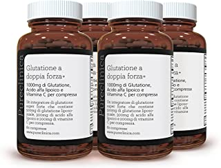 Double Strength Glutathione 500mg x 60 Tablets - 4 Bottles (240 Tablets) - 4 to 8 Months Supply. with Vitamin C and Alpha ...