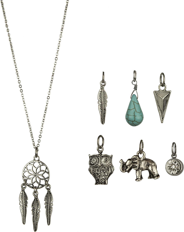Lux Accessories Dreamcatcher Boho Tribal Charm Necklace 7 Charms