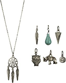 Lux Accessories Dreamcatcher Owl Elephant Spear Arrow Head Tribal Leaf Crystal Floral Interchangeable Charm Pendant Necklace (7 Charms)