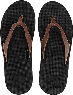 REEF Mens Leather Fanning Flip Flop, Adult