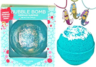 Mermaid Bubble Bath Bomb for Girls with Surprise Kids Necklace Inside by Two Sisters Spa. Large 99% Natural Fizzy in Gift Box. Moisturizes Dry Sensitive Skin. Releases Color, Scent, Bubbles.