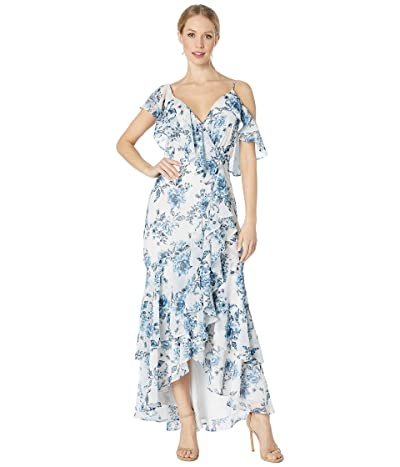 WAYF The Elanor Cap Sleeve Wrap Maxi Gown (Blue Toile Floral) Women